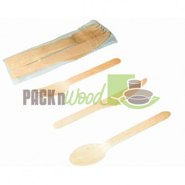 "6"" Disposable Wooden Cutlery Meal Kit"