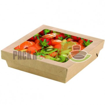 Kraft Box With Clear Window Lid - 8.9 x 8.9 x 3.1""