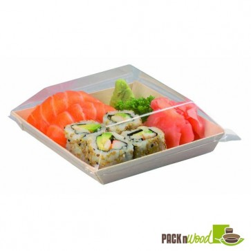 Clear Recyclable Lid for Samurai - Square Wooden Dish - 5.2 in.