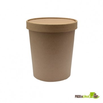 16 oz. Kraft Recyclable Soup Cup with Vented Paper Lid