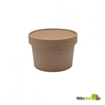 8 oz Kraft Recyclable Soup Cup with Vented Paper Lid