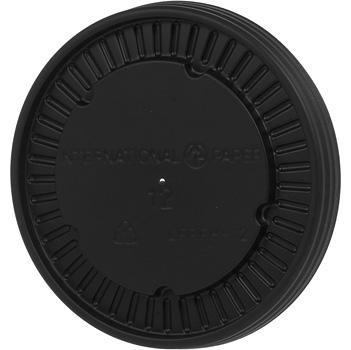 Ecotainer 12 oz. Hot Flat Vented PS Lids for Biodegradable Soup Cups / Food Containers, Black