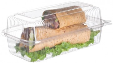 "9.5"" x 5"" x 3.5"" Hoagie EcoProducts PLA Corn Plastic Biodegradable Hinged Clamshell Food Container, (EP-LC96), Compostable, Clear, Case of 240"
