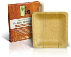 "6"" Square Disposable Bamboo Dessert Plates"