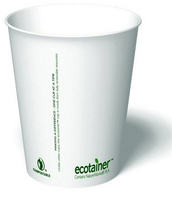 8 oz. Ecotainer Carte Blanc Biodegradable Hot Cup / Coffee Cup, Compostable, White