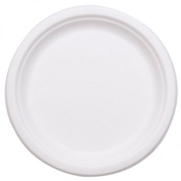 "7"" Round  Biodegradable Plates Sugarcane, Compostable, Natural White"