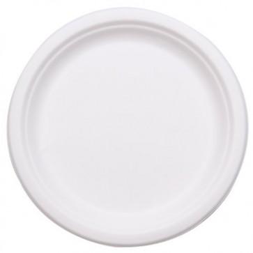 "10"" Stalkmarket Biodegradable Plates Sugarcane, Compostable, Natural White"