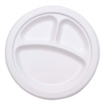 "10"" 3-Compartment Stalkmarket Biodegradable Plates Sugarcane, Compostable, Natural White"
