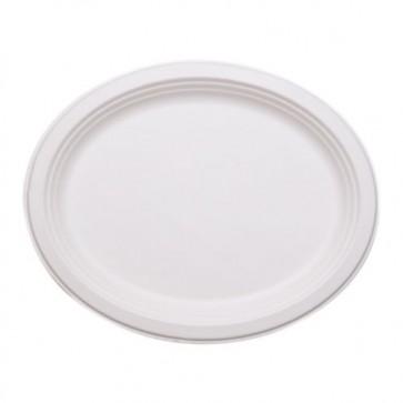 "10.5"" Oval Stalkmarket Biodegradable Plates / Platters Sugarcane, Compostable, Natural White"