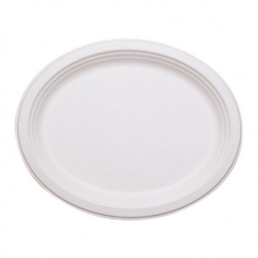 "12"" Jumbo Oval Biodegradable Plates / Platters Sugarcane, Compostable, Natural White"