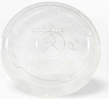Ecotainer 12 / 16 / 22 oz. Compostable Cold Cup Flat Lids w/ Straw Slot