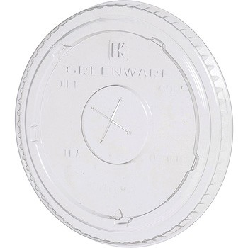 9/ 12 / 20 oz. Greenware Clear Flat Lid w/ Hole, Compostable