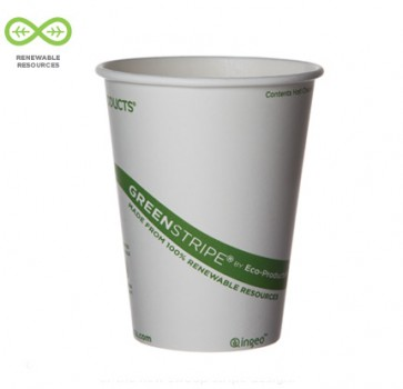 8 oz. Biodegradable Hot Cup / Coffee Cup Green Stripe Compostable