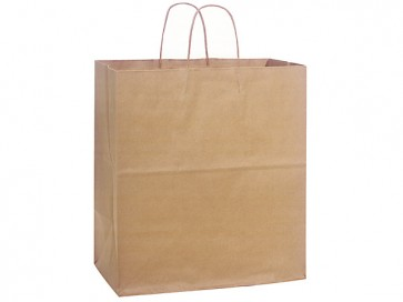 "100% Recycled Paper Shopping Bags, 14.5"" x 9"" x 16.25"""
