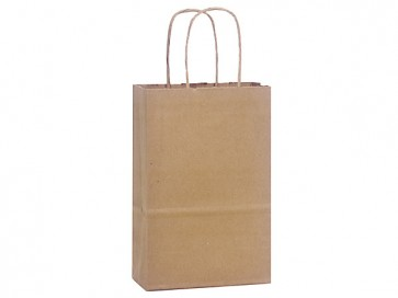 """100% Recycled Paper Shopping Bags, 5.5"""" x 3.25"""" x 8"""""""