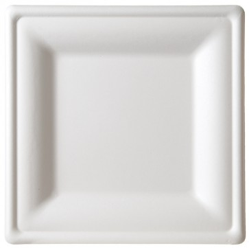 "10"" Premium Sugarcane Biodegradable Square Plates, (EP-P023), Compostable, Case of 250"