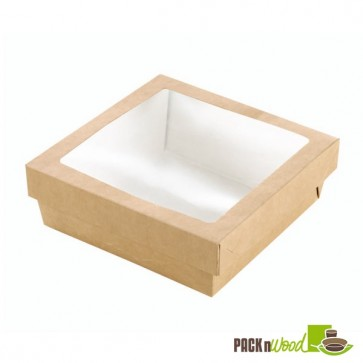 Square Kraft Box with Window - 9.8 x 2 in.