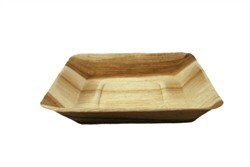 "7"" Compostable Square Rimmed Palm Plate"
