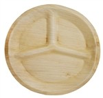 "11"" Compostable 3-Compartment Palm Plate"