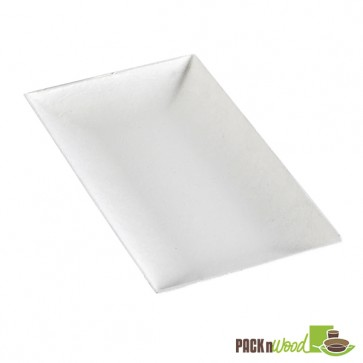 Recyclable Clear Lid for Bio 'n' Chic - Rectangular Sugarcane Plate - 3.54 x 7.08 in.