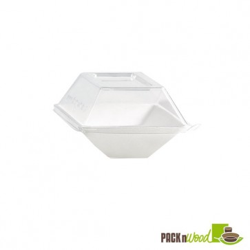 "Clear Recyclable Lid for ""Eco-Design"" - Sugarcane Plate - 5.12 x 3.35 in."