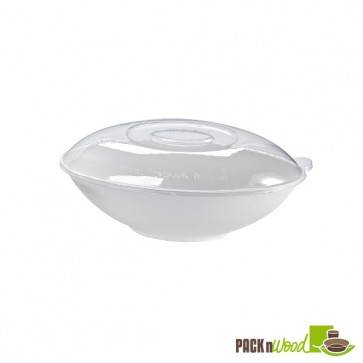 Recyclable Clear Lid for Bio 'n' Chic - Oval Sugarcane Bowl - 10.6 x 6.2 in. - 44oz