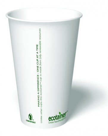 16 oz. Ecotainer Carte Blanc Biodegradable Hot Cup / Coffee Cup, Compostable, White