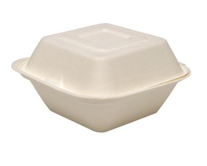 "6"" Solo Bare Sugarcane Biodegradable Take Out Container Hinged Clamshell, Compostable, Ivory"