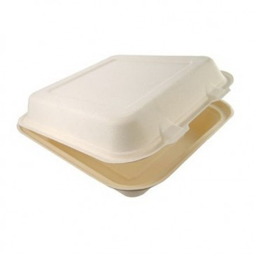 "9.75"" x 9.75"" x 3"" 1-Compartment Bagasse Lunchbox"