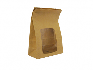 """6 x 3 x 9"""" Kraft NatureFlex Window Lined Bloomer Bag"""