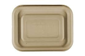 Compostable Wheatstraw Small Entree Tray FIBER LID