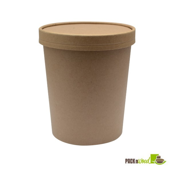 32 Oz Kraft Recyclable Soup Cup With Vented Paper Lid EcoFriendly