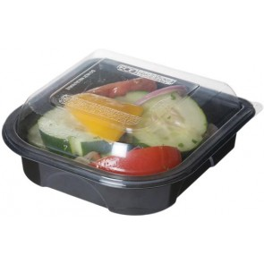 "6"" Black Take Out Containers 100% Recycled PET Plastic w/ Clear Tops, (EP-PTOR6), Recyclable, 150/cs"