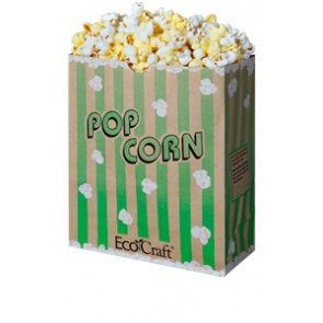 130 oz. Natural Theater Popcorn Bag, Green Stripe