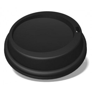 Ecotainer 10 / 12 / 16 / 20 oz. PET Dome Lids for Biodegradable Hot Cups / Coffee Cups, Black