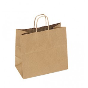 "100% Recycled Paper Shopping Bags, 13"" x 7"" x 13"""