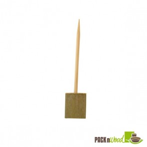 Double Prong Bamboo Skewer with Block End - 3.94 in.