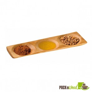 PATONG - Bamboo Three Compartment Dish - 7.1 x 2.4 in.