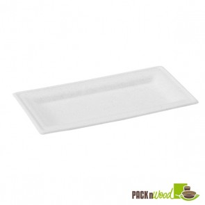 Rectangular White Sugarcane Plate - 10.2 x 5.1 in.