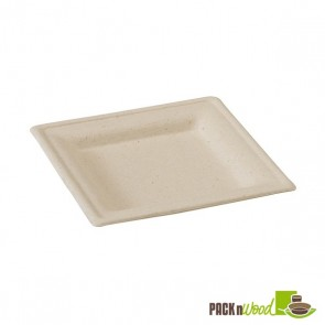 Square Natural Sugarcane Plate Biodegradable - 6.2 x 6.2""