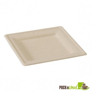 Square Natural Sugarcane Biodegradable Plate - 7.8 x 7/8""