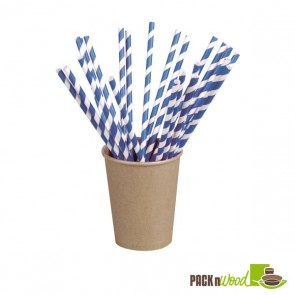 Unwrapped Blue Striped Paper Straws - 7.75 in