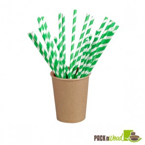 Individually Wrapped Green Striped Paper Straws - 8.3 in.