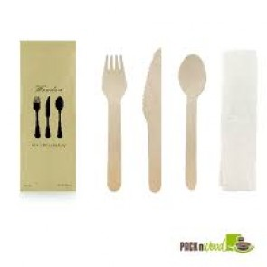 "6"" Disposable Wooden Cutlery Meal Kit with Napkin"