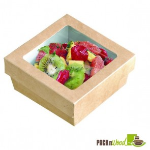 Kraft Box With Clear Window Lid - 3.9 x 3.9 x 1.6""