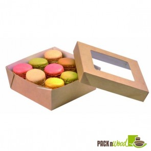 Kraft Box With Clear Window Lid - 4.7 x 4.7 x 2""