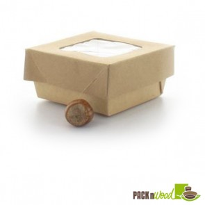 Recyclable Paper Kraft Box With Clear Window Lid - 2.8 x 2.8 x 1.6""