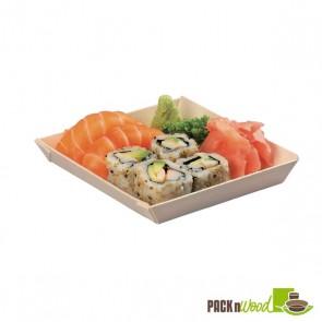 Samurai - Square Wooden Dish - 5.2 in.