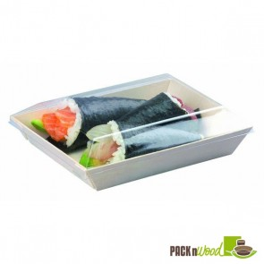 Clear Recyclable Lid for Rectangular Samurai - Wooden Tray - 5.1 x 7 x 1.1 in.