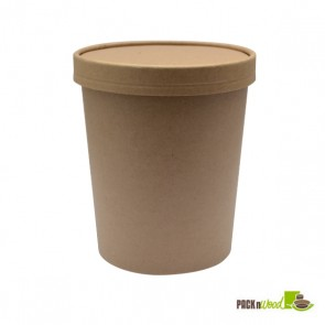32 oz. Kraft Recyclable Soup Cup with Vented Paper Lid